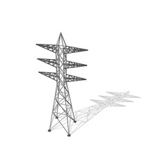 Power Transmission Tower. Isolated On White Background. Vector Illustration.