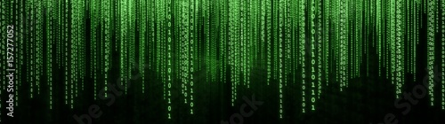 Fotomural  Green Binary Matrix Background