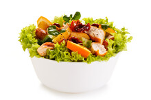 Salad With Grilled Chicken On White Background