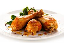 Roast Chicken Drumsticks On Wh...