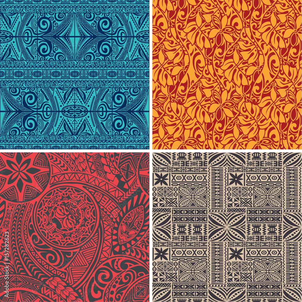 Fototapeta Set of 4 vector seamless pattern in polynesian hawaiian style