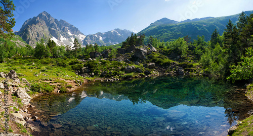Fototapeta Mountain Lake in the highlands of the Caucasus