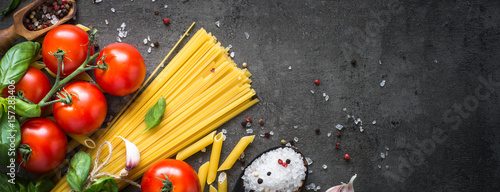 Ingredients for cooking. Long banner format.