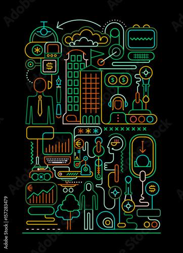 Poster Art abstrait Online Banking illustration
