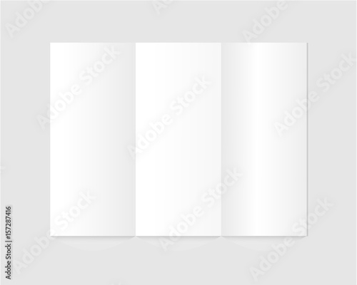 blank trifold paper brochure on gray background cover for your