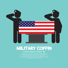 Military Coffin Funeral Vector...