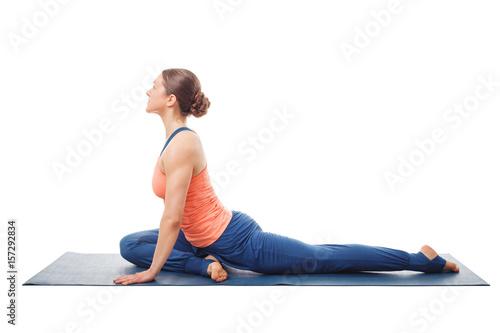 Fotografie, Obraz  Woman doing yoga asana Eka pada kapotasana