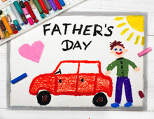 Colorful Drawing: Happy Fathers Day Card Made By A Child