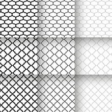 Traditional Quatrefoil Lattice Seamless Patterns