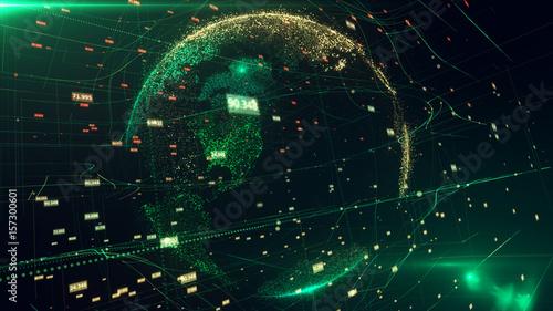 Plakat 3d ilustracja szczegółowa wirtualna planety ziemia. Technologiczny cyfrowy świat na świecie
