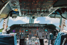 Old Cockpit Of A Passenger Air...