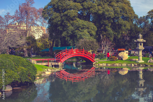 Foto op Canvas Buenos Aires Bridge in the Japanese Garden in Buenos Aires.