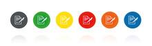Dokument - Vertrag - Unterschreiben - Farbige Buttons