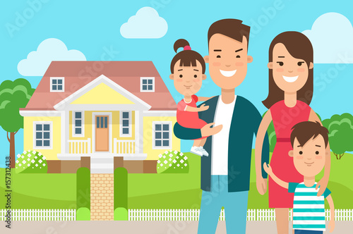Flat Happy family house background vector. Real Estate ...