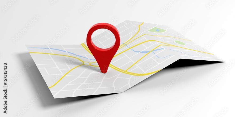 Fototapeta Map pointer location on white background. 3d illustration