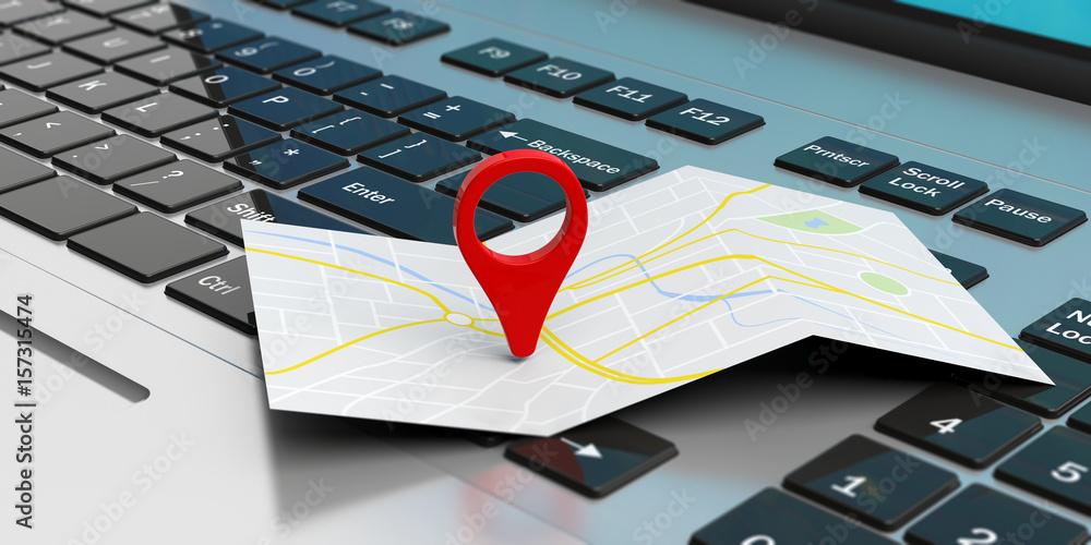 Fototapeta Map pointer location on a laptop. 3d illustration