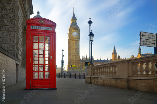 Poster Londres bus rouge Red phone box with Big Ben