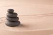 zen budhism meditation pile of stones on sand. Paterns for yoga, relaxation and concentration...