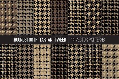 Photo Brown Houndstooth Tartan Tweed Vector Patterns