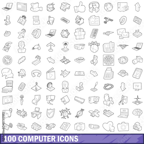 Photo  100 computer icons set, outline style