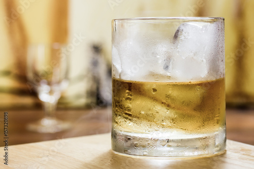 Whiskey tumbler glass misty ice Wallpaper Mural