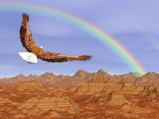 FototapetaBald eagle flying upon rocky mountains to the rainbow - 3D render