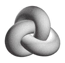 Vector Halftone Stippled Geometric Figure Illustration - 3D Infinity Trefoil Torus Knot Loop