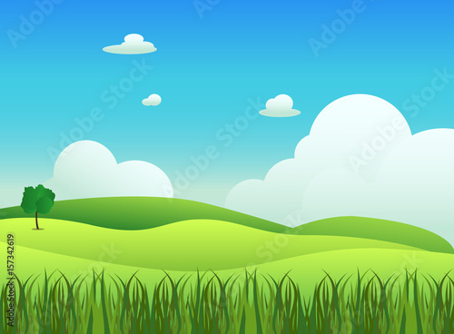 Spoed Foto op Canvas Turkoois Meadow landscape with grass foreground, vector illustration.Green field and sky blue with white cloud background