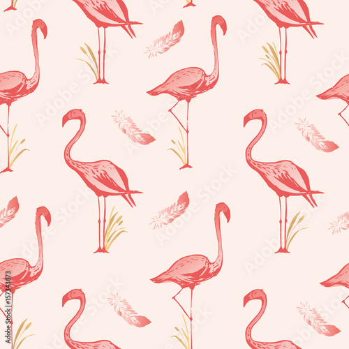 Foto op Plexiglas Flamingo vogel Flamingo seamless pattern. Vector background design with flamingos for wallpaper, fabric, textile.