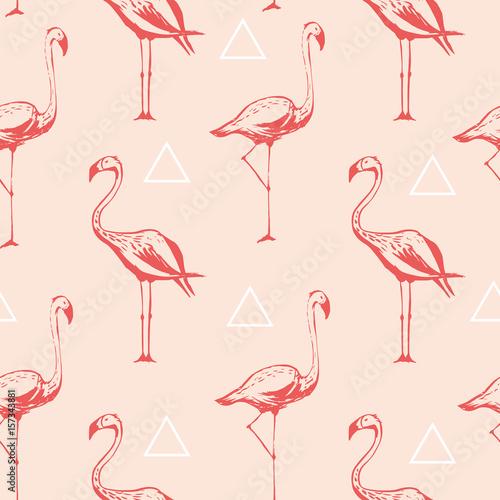 Canvas Prints Flamingo Bird Flamingo seamless pattern. Vector background design with flamingos for wallpaper, fabric, textile.