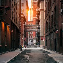 New York City Street At Sunset...