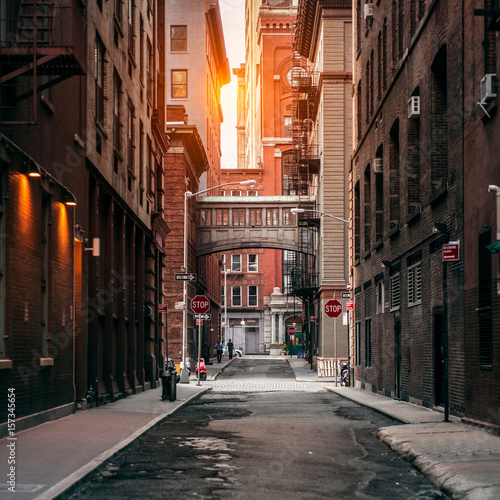 New York City street at sunset time. Old scenic street in TriBeCa district in Manhattan. Wall mural
