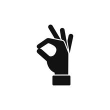 Okay Icon Hand, Vector Ok Symbol Isolated Positive Sign.