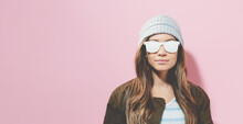 Hipster Girl Wearing Sunglasse...