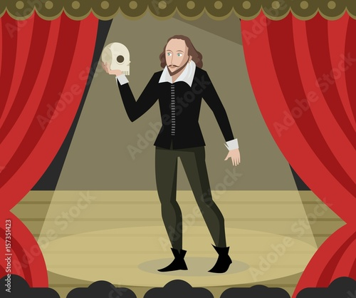 Fotografie, Obraz  great english writer playwright holding an skull on theater stage
