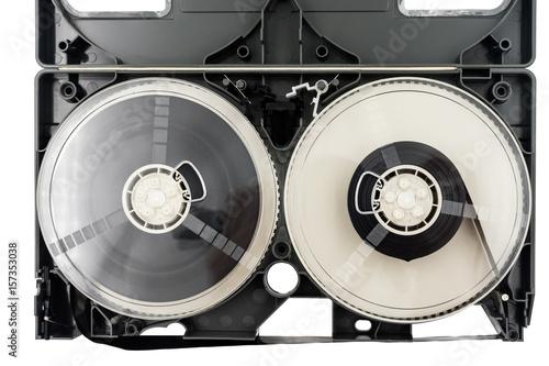 Deurstickers Retro Open video cassette tape on white background.