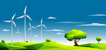 Landscape With Wind Farm In Green Fields Among Trees.Ecology Concept.Polygonal Style-Eps10 Vector Illustration.
