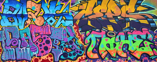 obraz dibond Art under ground. Beautiful street art graffiti style. The wall is decorated with abstract drawings house paint. Modern iconic urban culture of street youth. Abstract stylish picture on wall