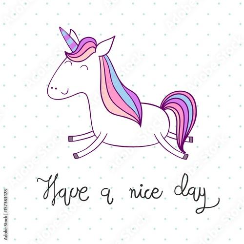 Have a nice day magic cute unicorn vector greeting card buy have a nice day magic cute unicorn vector greeting card m4hsunfo