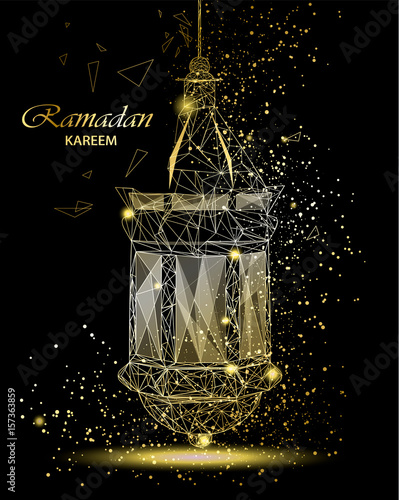 Ramadan Kareem Beautiful Greeting Card With Traditional Arabic Lantern.  Polygonal Art On Black Background.