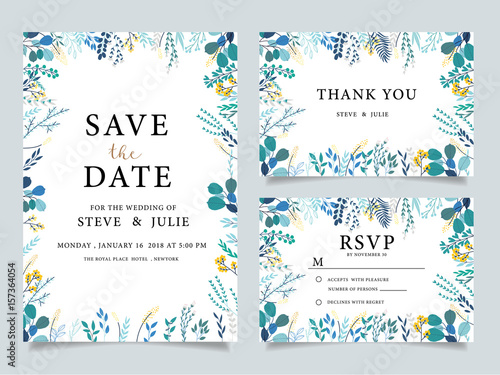 Fotografía  wedding invitation card with  flower Templates