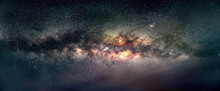 Galaxy Milky Way Panorama View In Sky, Night View Black Hole In Universe. Galaxy Of The Earth In Space