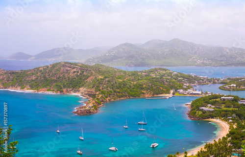 Photo Stands Caribbean Antigua, Caribbean islands, English harbour view with Freeman's bay and yachts anchored by the beach