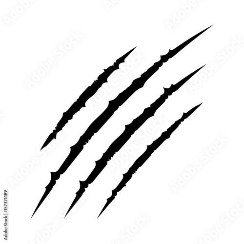 Fotografia Black bloody claws animal scratch scrape track