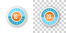 Summer Sale Sticker 10 And 20 Percent Discount With Blue And Orange Color