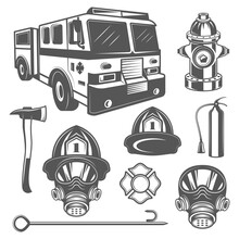 Set Of Vintage Firefighter And Fire Equipment Icons In Monochrome Style