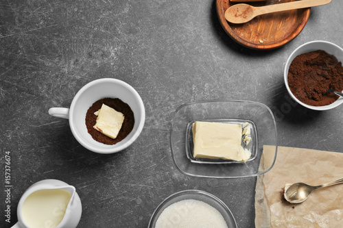 Foto op Plexiglas Ingredients for bulletproof coffee on gray background