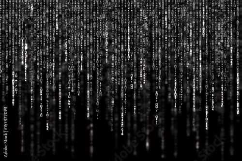 Digital Abstract background, black and white matrix Wallpaper Mural