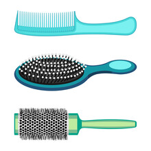 Types Of Hair Combs And Hairdressing Brushes Vector Illustration Isolated