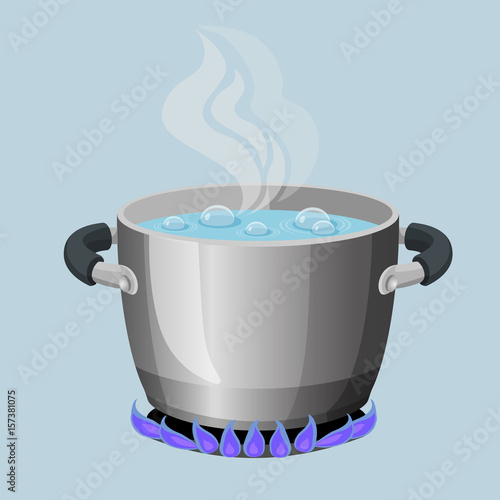 Valokuva  Boiling water in aluminium pot on gas flame realistic vector illustration